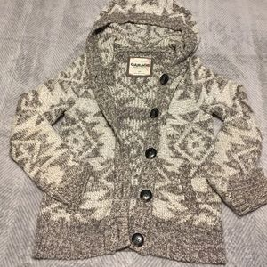Garage fair isle hooded button front cardigan